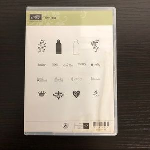 Tiny Tags STAMPIN UP Cling Rubber Stamp Set of 17